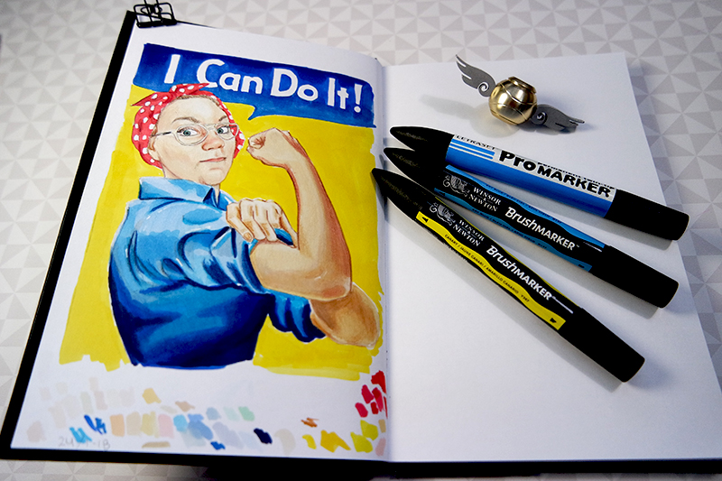 I Can Do It! Self Portrait made with ProMarkers